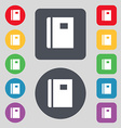 Book icon sign A set of 12 colored buttons Flat vector image vector image