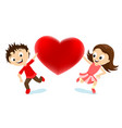 boy and girl with a red heart vector image vector image