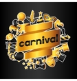 Carnival invitation card with gold icons and vector image vector image
