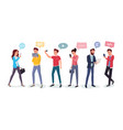 cartoon people chatting via internet vector image vector image