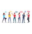 cartoon people chatting via internet vector image