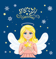 christmas angel with star vector image vector image