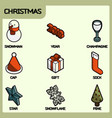 christmas color outline isometric icons vector image