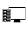 computer monitor and case vector image