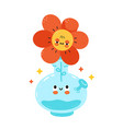 cute happy bong with flower character hand vector image vector image
