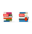 DJVU books stacks icons vector image vector image