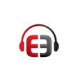 e letter dj in headphone logo template vector image