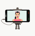 female selfie photo on smartphone in monopod vector image vector image