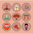 flat colored symbols of japan travel and vector image