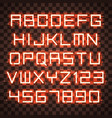 glowing blue orange alphabet vector image