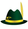 Green hat with golden feather ribbon and ornament vector image
