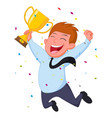 happy businessman with trophy and confetti vector image