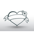 heart banner drawn for love vector image vector image