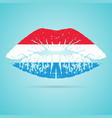 luxembourg flag lipstick on the lips isolated on a vector image