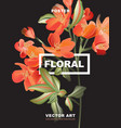 macro astromelia flower poster holiday greeting vector image vector image