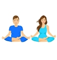 man and woman sitting in yoga pose vector image vector image