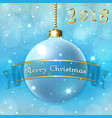 merry christmas decoration background with 3d ball vector image