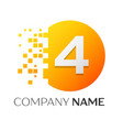 number four logo symbol in colorful circle vector image vector image