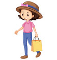 one happy girl shopping bag vector image vector image