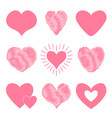 pink heart icon set happy valentines day sign vector image