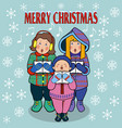 postcard with scandinavian style children sing vector image