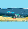 sea creatures trapped in plastic waste vector image