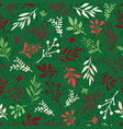 seamless christmas background abstract leaf vector image vector image