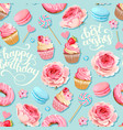 seamless pattern with cupcakes and donuts vector image vector image