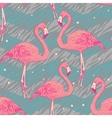 Seamless pattern with flamingo birds vector image