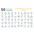 set line icons international sporting events vector image vector image
