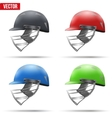 Set of Cricket Helmets Side View vector image vector image