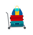 set of luggage suitcase transportation cart vector image vector image