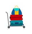 set of luggage suitcase transportation cart vector image