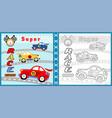 super car racing cartoon coloring page or book vector image