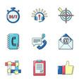 team way icons set cartoon style vector image
