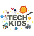 tech kids icon with element vector image