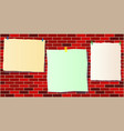 three paper notes template on brick wall vector image