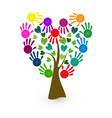 tree with hand-print paint hands as leafs symbol vector image vector image