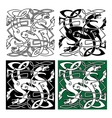 Tribal dragons with twined bodies celtic pattern vector image vector image