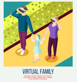virtual family isometric background vector image vector image