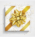 white gift box - gold christmas and birthday bow vector image vector image