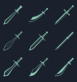 Swords knives daggers sharp blades flat icon set vector image