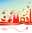 spain background with flag and symbol vector image