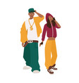african american man and woman dressed in loose vector image vector image