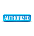 authorized blue 3d realistic square isolated vector image vector image
