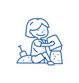 boy playing with sand line icon concept boy vector image