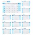calendar planner 2020 in clean minimal table vector image