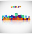 cardiff skyline silhouette in colorful geometric vector image vector image