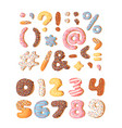 cartoon donut hand drawn set vector image