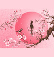 cherry blossom tree with two bird vector image